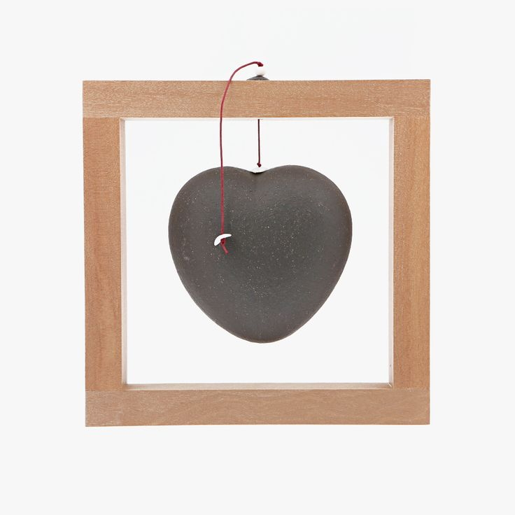 Ceramic Ornament - Heart Frame, Black