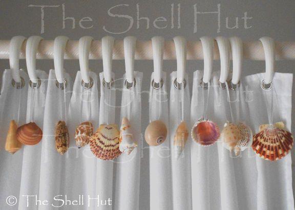 Seashells Shower Curtain Hook Embellishment 12 Real Shells add to Hooks Bathroom #Handmade