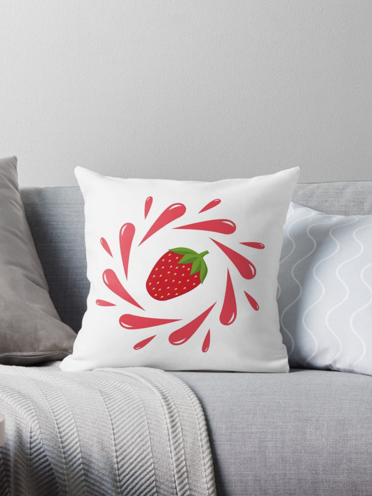 Strawberry splash by LunaPrincino  #design #strawberry #berry #fruit #fresh #juicy #food #raw #vegan #red #and #white #splash #motion #graphic #drops #print #prints #redbubble #gift #idea #ideas #summer #vivid #graphics #cool #pretty #cute #creative #style #home #decor #interior #throw #pillow #decorative