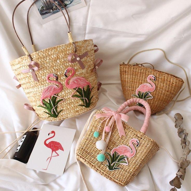 Flamingo Straw Tote Bag Summer Beach Handbags