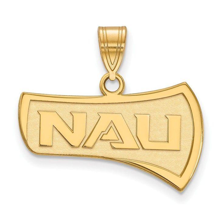 Sterling Silver w/GP LogoArt Northern Arizona University Large Pendant