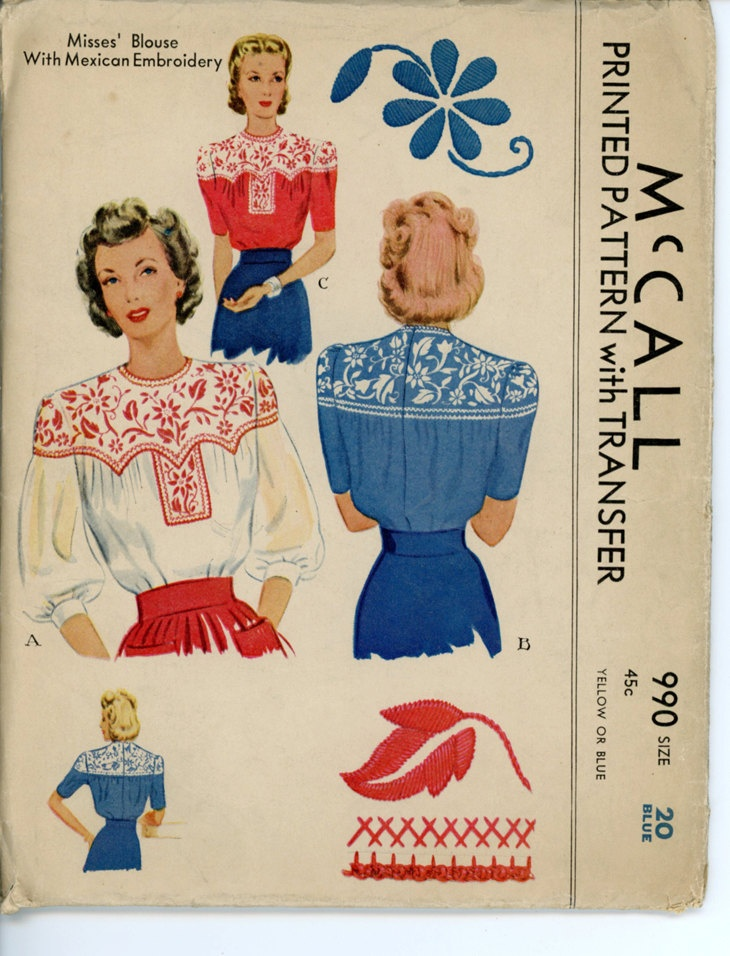 McCall 990 Misses 1940s Embroidered Blouse Pattern Mexican Motifs Yoked Back Button Blouse Womens Vintage Sewing Pattern Bust 38 UNCUT. $34.00, via Etsy.