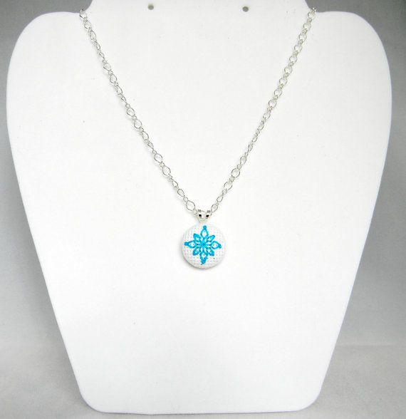 Snowflake Charm Necklace Cross Stitch Silver by PipandAnya on Etsy, $12.00