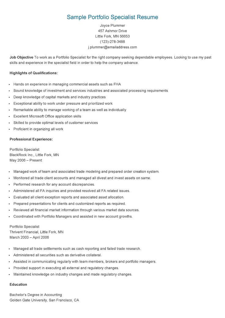 sample portfolio specialist resume  resume specialist