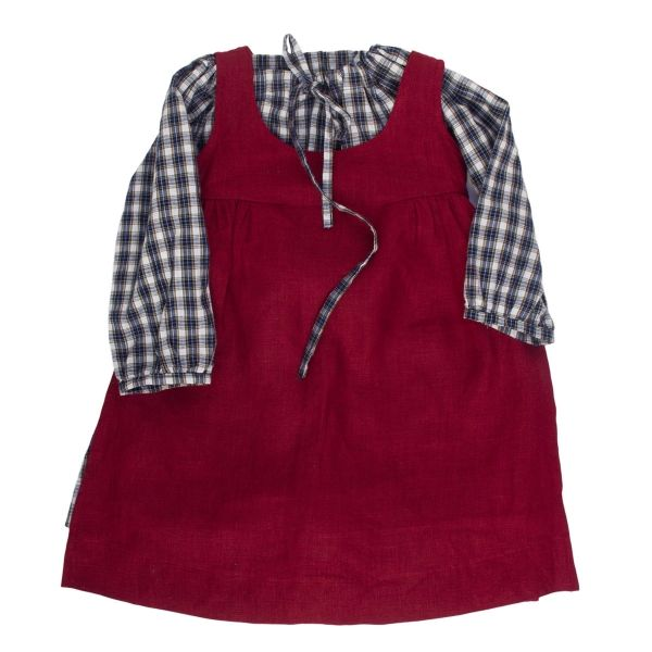 Mákvirág — Pinafore dress deep red