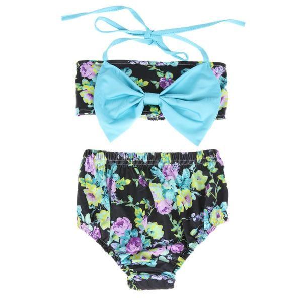 f4b581c182bf0 Fashion Two Pieces Baby Girls Bikini Swimwear Bowknot Bra Top with Floral  Print Brief Swimsuits Summer Beach Swimming Swimwear