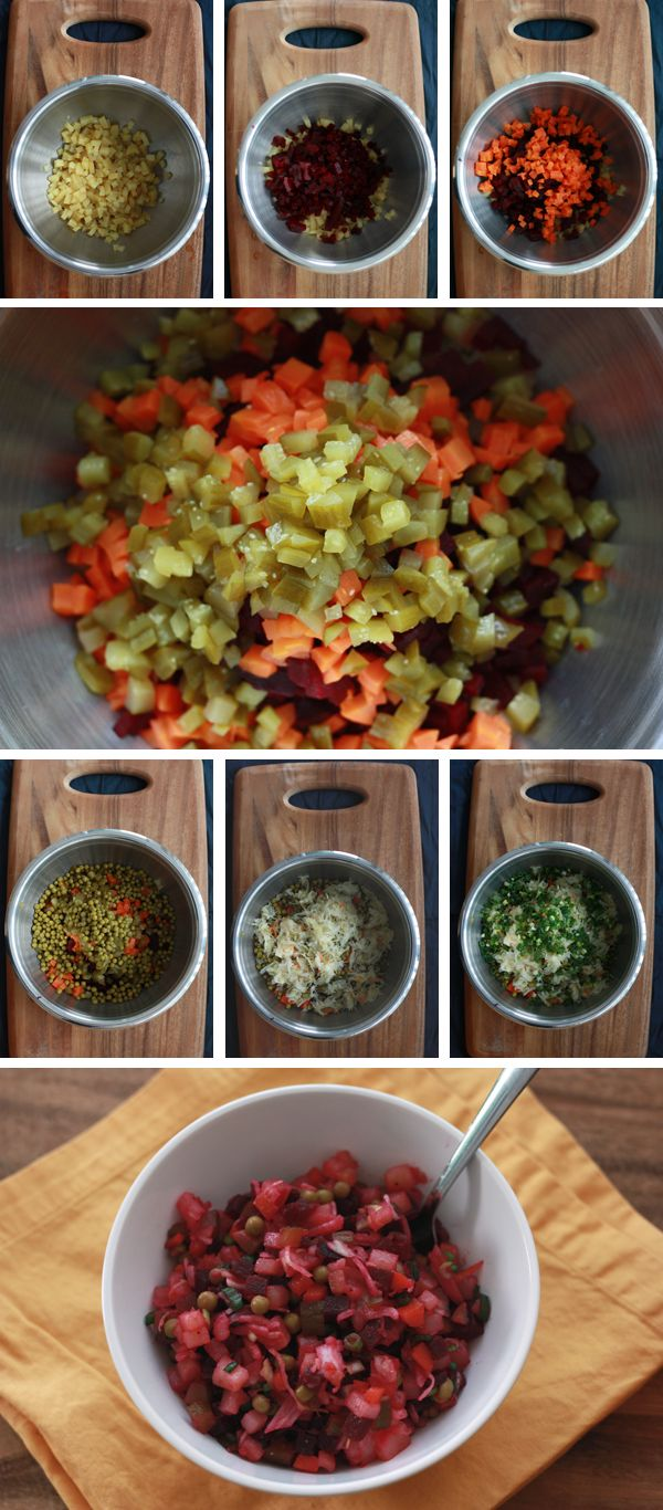 Russian Vinaigrette salad with sauerkraut, carrots, beets and pickles. A way to use up all the fermented veggies!
