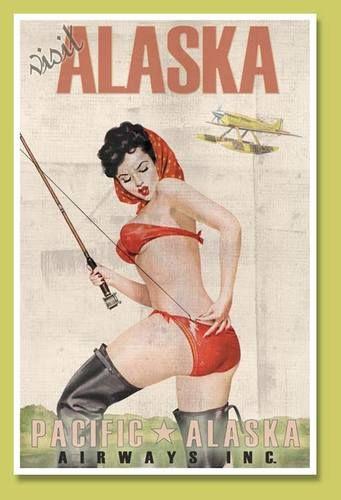ALASKA AIRLINES Vintage Travel Art Poster Print Pacific Pimup Girl Fishing Pole