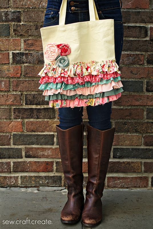 Ruffle bag. Super cute and I have so many blah tote bags that I could do this to.