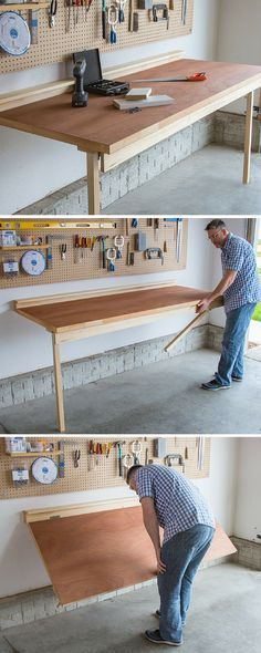 Build a Drop Down Workbench |-No shop is complete without a workbench, but not everyone's shop space allows room for a big, freestanding bench. This bench offers a sturdy place for all your shop chores, and folds down flat against the wall when not in use to save space. FREE PLANS at buildsomething.com #woodworking
