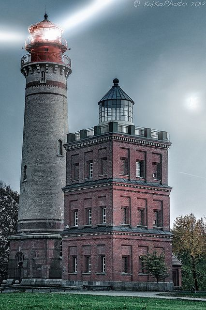 The Cape Arkona Lighthouse (German: Leuchtturm Kap Arkona) refers to two lighthouses and a radio navigation tower on the German Baltic Sea coast in Mecklenburg-Vorpommern