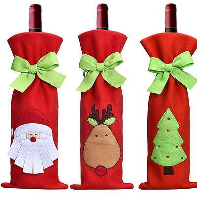 Red Santa Tree Wine Bottle Cover Bags Christmas Dinner Party Decorations Gift
