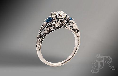 Three stone engagement ring - diamond & sapphire   Nice| +Engagement Ring