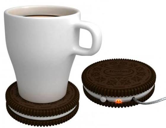 Aquecedor de caneca em forma de biscoito. Café sempre quentinho!