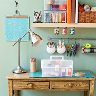 Mmmm...organized.Desks Area, Crafts Area, Offices Crafts, Crafts Spaces, Crafts Room, Colors Home, Art Supplies, Home Offices, Craft Rooms