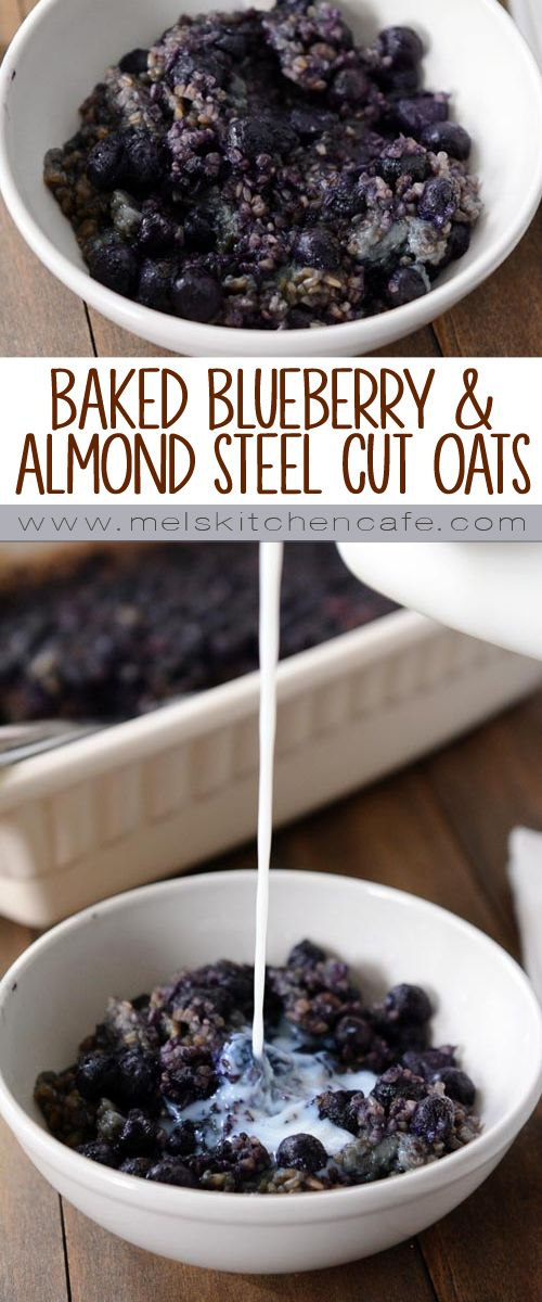 These baked blueberry and almond steel cut oats are refrigerated overnight and baked the next morning for an easy breakfast!