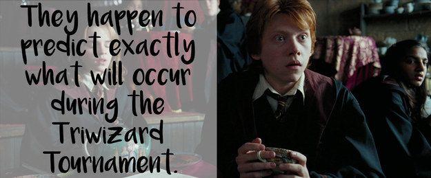 Esta teoria de que Harry e Rony, ao fazerem sua lição de casa de adivinhação, preveem os acontecimentos de O Cálice de Fogo.