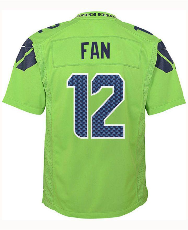 Nike Fan #12 Seattle Seahawks Color Rush Jersey, Big Boys (8-20)