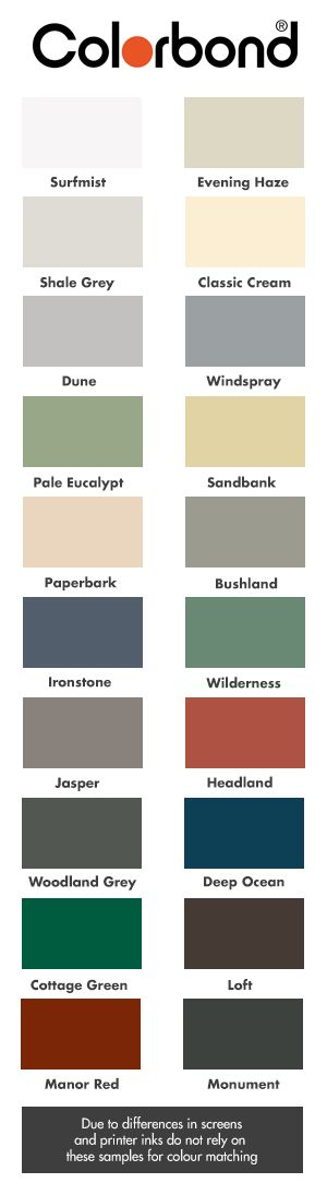 The Colourbond range