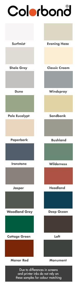 The Colourbond range