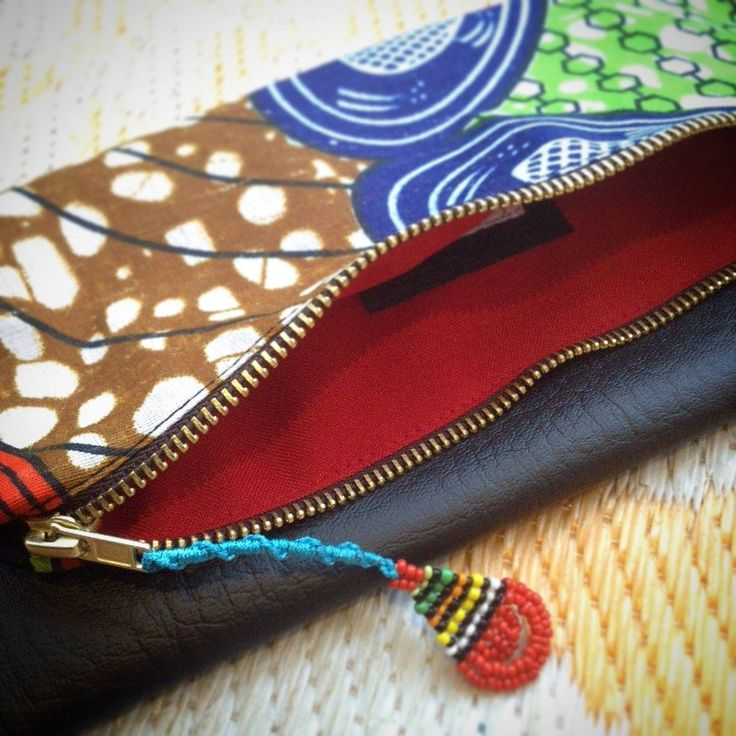 Fold Over Clutch Bag - 'Mama Africa' African Wax Print with Black Faux Leather Trim - Bridesmaid's Gift - (MABL4) by ChangNoii on Etsy