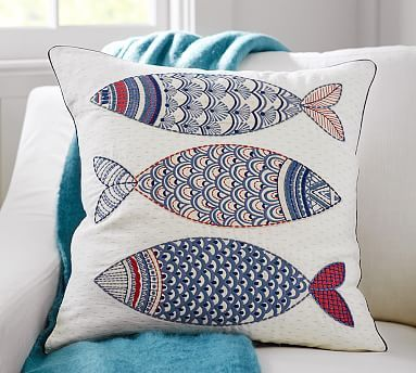 """The decorative patterns on this pillow cover are accented with fine embroidery that adds definition to the charming design. •20"""" square •Made of linen. •Cotton/linen blend embroidery. •Reverses to solid. •Zip closure."""