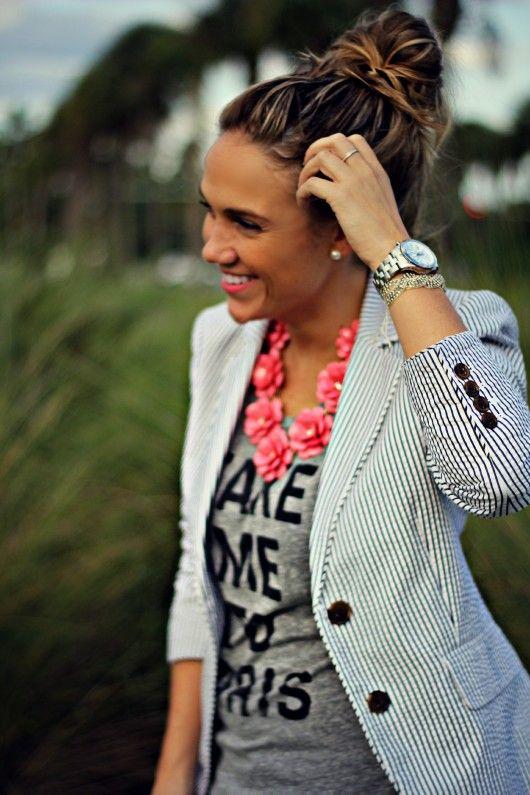 """Take Me to Paris"" Tee Seersucker Blazer Rosette 7 Flower Necklace Giveaway"