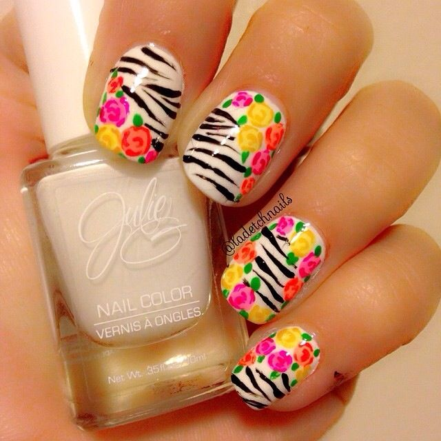 Nails, zebra stripes and flowers