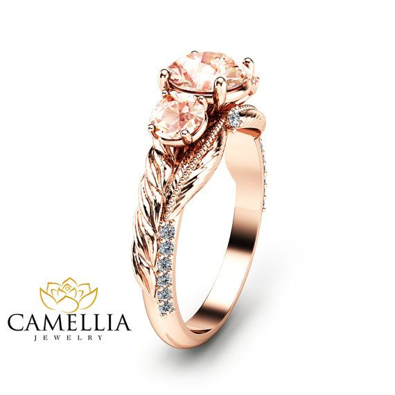 Three Stone Morganite Ring in 14K Rose Gold by CamelliaJewelry