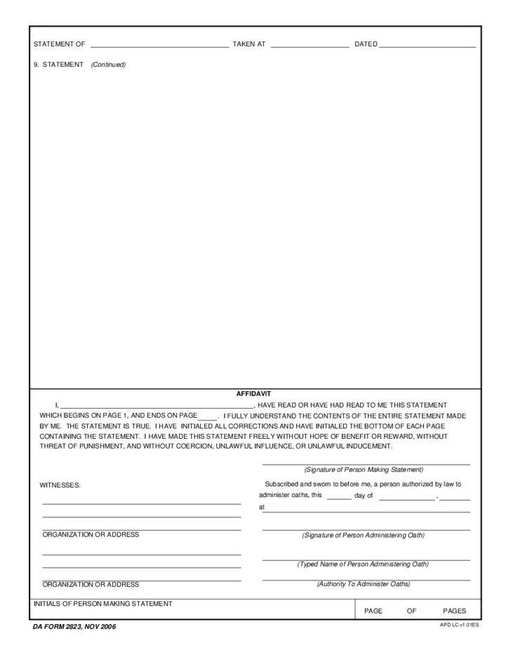 Fillable Da Form 2823 Sworn Statement Free Download In 2020 Statement Template Statement Balance Sheet Template