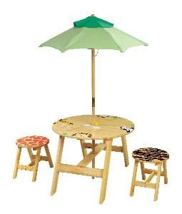 Sunny Safari Child's Outdoor Table and Chairs Set. Product in photo is from www.wellappointedhouse.com