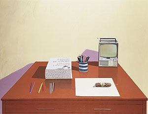 Still Life with Desk by David Hockney