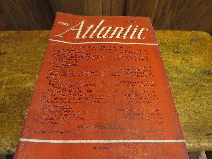 Atlantic Monthly Magazine The Atlantic November 1937 Volume 159 No. 5
