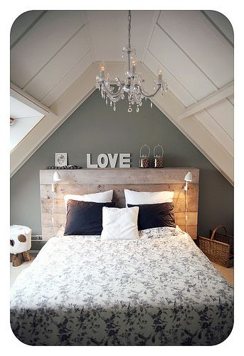 handmade headboard with shelving + lights- like the concept but painted