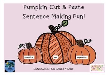 Autumn Fall Halloween Pumpkin Cut & Paste Sentence Making Literacy For Early Years  This task is designed in a way that you print out the pumpkins, cut them into individual pieces and use as a literacy task in your classroom.  The focus could be Autumn/Fall, Pumpkins, Halloween or adjectives.  Also scissor skills and pasting can sometimes need some focus work too! :-) The dotted lines are for the students to cut out and use on their page and I have given an example of how I would use the…