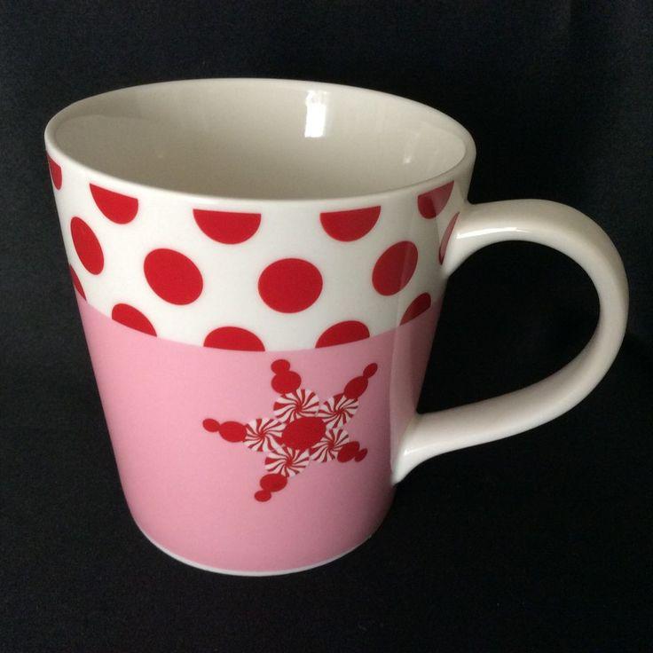Holiday 2007 Starbucks Mug Pink Red White Snowflake Polka Dots
