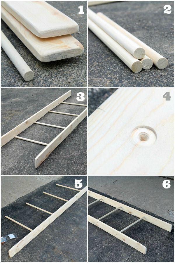 DIY Decorative Ladder Tutorial (I don't have the tools to do this, but it looks fairly easy if I did). I probably wouldn't stain it so dark...