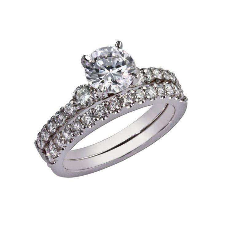 2.00 Ct Moissanite Diamond Engagement Ring Set 14K White Gold Wedding Band Sets #Elitediamond #SolitairewithAccents