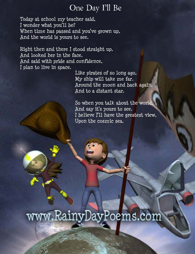 Poems For Kids: One Day I'll be by James McDonald, in the book Rainy Day Poems, a poetry book for kids