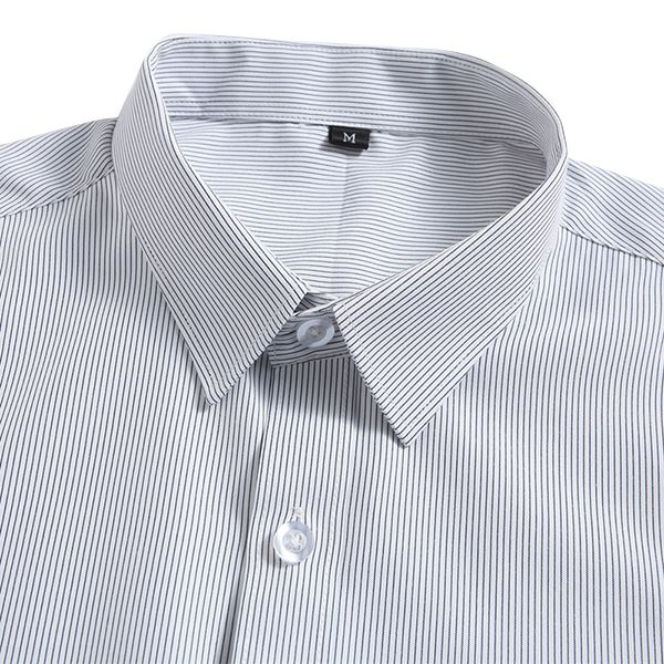 Striped Short Sleeve Formalwear Shirts Easy Care Non Iron Slim Fit Men Business Wear