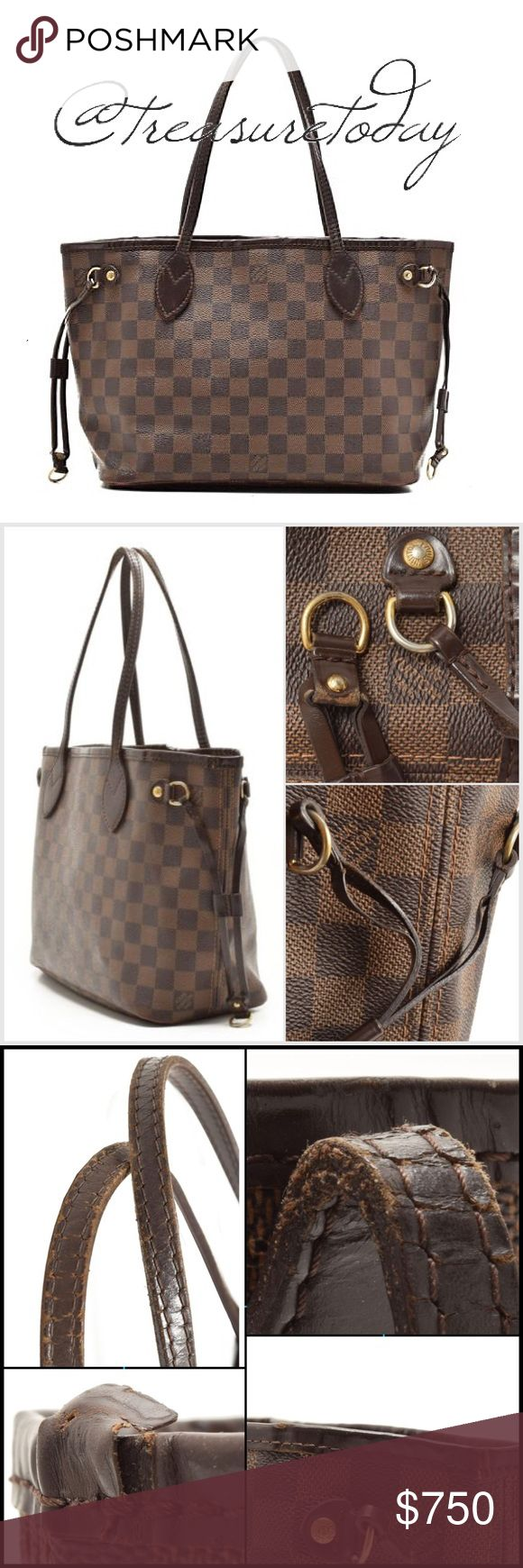 Louis Vuitton Neverfull PM Damier Ebene Tote Bag Beautiful authentic Louis Vuitton Tote , %100 authentic! Brown checkered Damier Ebene coated canvas with dark brown leather trim and handles. Red lined interior with zip pocket. This bag was well loved and shows normal wear- please refer to pictures and use the zoom feature to see details. All the wear is hardly noticeable in person unless examined closely. The interior has some minor stains and the zip pocket has some pilling. The bag is…