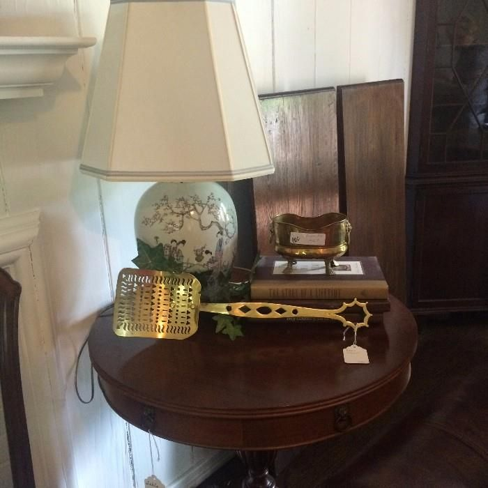 Antique drum table, Asian lamp, and brass fireplace tool  New Divide & Conquer sale starting this June 2-4, 2016 check out the details here:  http://divideandconquerofeasttexas.com/nextsales.php  #estatesales #consignments #consignment #tyler #tylertx #tylertexas #organizing #organizers #professionalorganizer #professionalorganizers #movingsale #movingsales #moving #sale #divideandconquer #divideandconquerofeasttexas #divideandconquereasttexas #marthadunlap #martha #dunlap