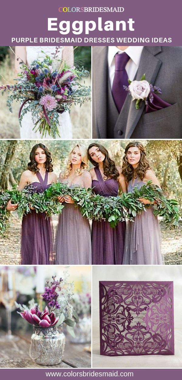 Bridesmaid Dresses Eggplant Color In 2020 Purple Bridesmaid