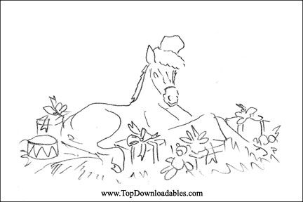 Horse christmas coloring pages detailed coloring pages for Christmas horse coloring pages