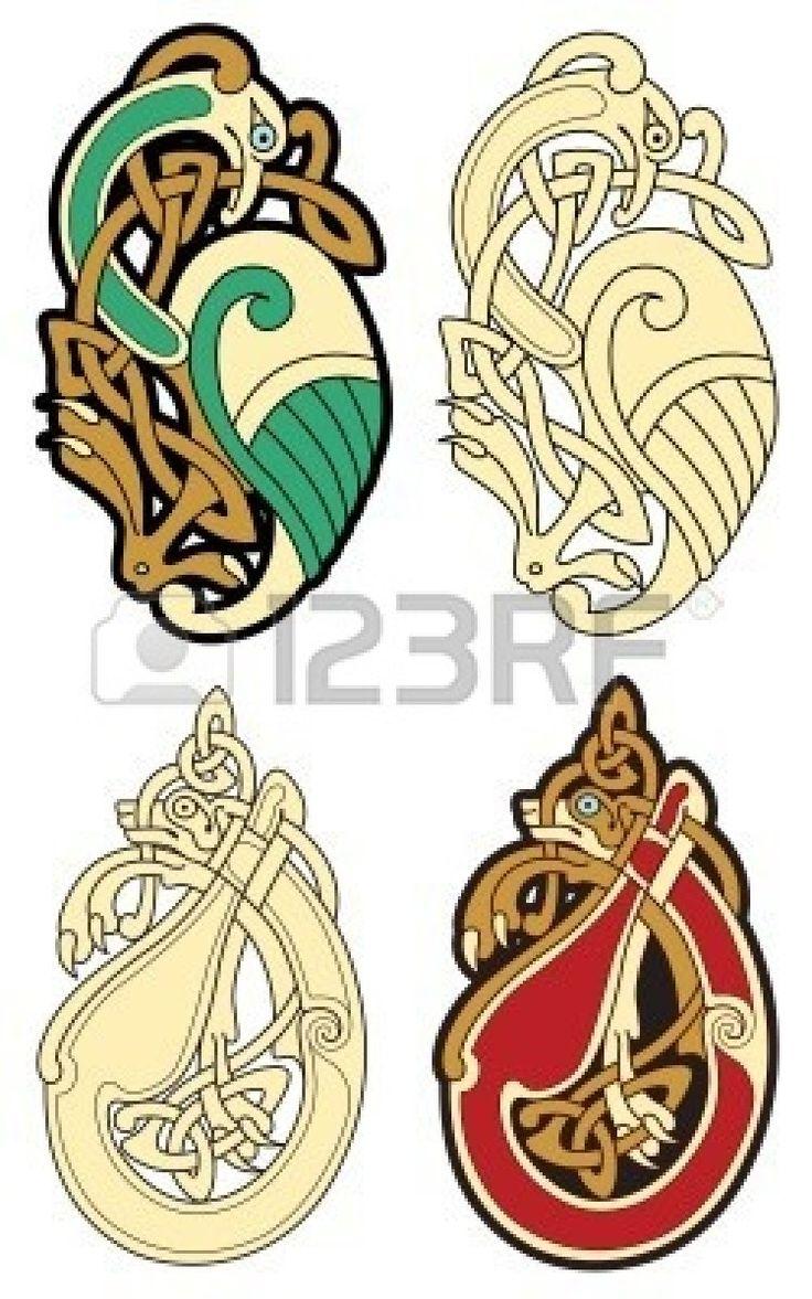 obras de diseño abstracto color celta - motivos de zoomorph  Foto de archivo - 6492267