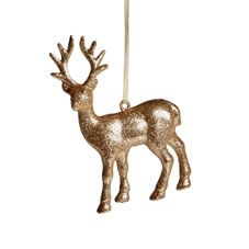 Our glitter reindeer is sure to add some sparkle to your tree this Christmas. With its stunning bronze-glitter finish, this elegant decoration is a must-have and cannot fail but to bring glitz and glamour to your tree. <BR> <BR>It's part of our Rustic Glow range; a trend inspired by traditional Christmases, bringing the outdoors in to create a truly rustic finish. Gorgeous sage greens are mixed with natural wood and touches of champagne gold to bring understated elegance to an...
