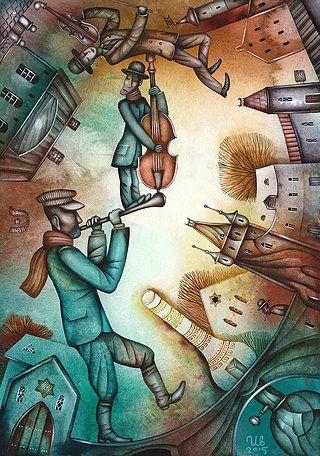 Klezmer by Eugene Ivanov #cirque #circus #clown #clownery #illustration #eugeneivanov #@eugene_1_ivanov