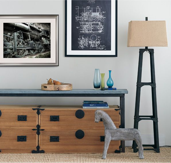 Industrial Age - Give any space a sophisticated edge. Combine natural beauty with man-made elements like art that depicts deconstructed machines. Balance the look by adding an industrial-inspired lamp and a few earth-toned accessories.