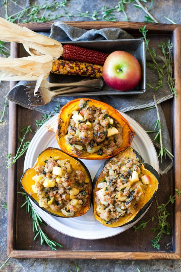 Caramelized Onion Sausage Stuffed Acorn Squash Paleo Whole30