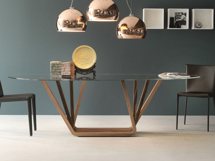rectangular wood and glass table domino by cattelan italia